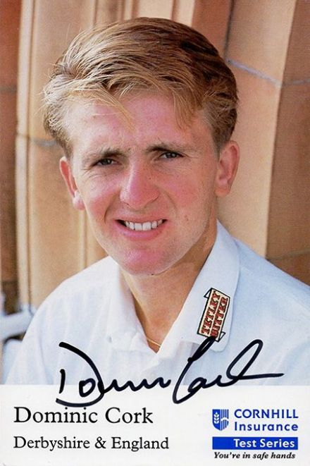 Dominic Cork, Derbyshire & England, signed 6x4 inch promo card.